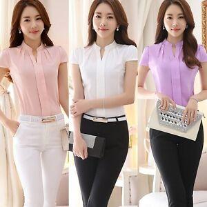 Women-Ladies-Formal-Cotton-Shirt-Office-Uniform-OL-Work-V-Neck-Blouse-Wear-S-XXL