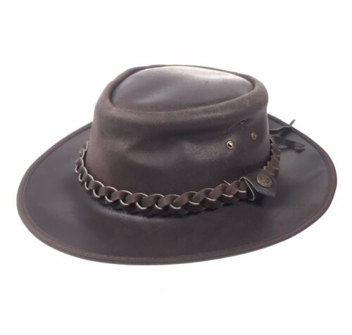 Leather Brown Western Style Cowboy Bush Classic Men/'s Women/'s Hat UK Seller