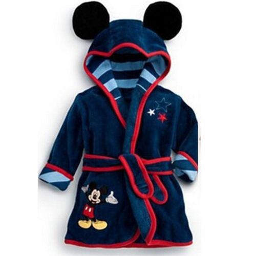 Baby Kids Girls Boys Bathrobe Mickey Minnie Mouse Hooded Dressing Gown Nightwear