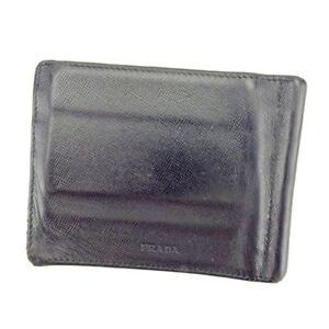 dc1b2d017b63 Prada Wallet Purse Bifold Logo Black Silver Mens Authentic Used ...