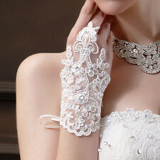 1 pair Short Wedding Bridal Gloves Beaded Lace Fingerless Rhinestone Party Glove