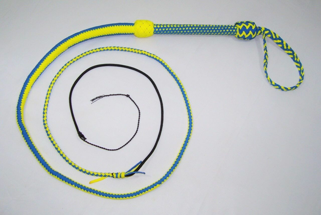 6 Foot 16 Plait Blau Gelb NYLON Well-weighted  SHOT LOADED Real Bullwhip whip