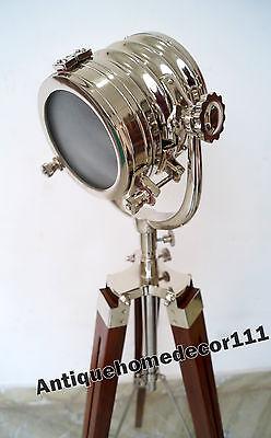 Hollywood Designer Nautical Floor Lamp ~With Wooden Tripod Vintage Spotlight .