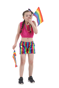Children-Shiny-Metallic-Wet-Look-Rainbow-Hot-Pants-Short-Shiny-Disco-School