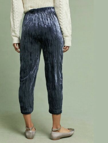 Crushed Nwt Velvet de jogging court Anthropologie Blue Pantalon élastique Taille qnSEBn