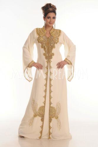 Nouveau Islamique Paillettes Kaftan 4043 Dress Arabian Cream Abaya Jalabiya Dubai Kheleeji rwr0q4xX
