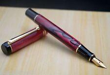 Unique Acrylic Fountain Pen P-22 (NOS) Ruby Red Golden Clip