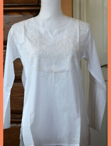 Embroidered-White-Color-Cotton-Tunic-Top-Kurti-from-India-Small