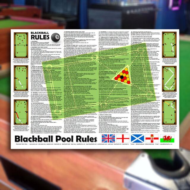 BLACKBALL 8ball Pool Rules A3 Sheet