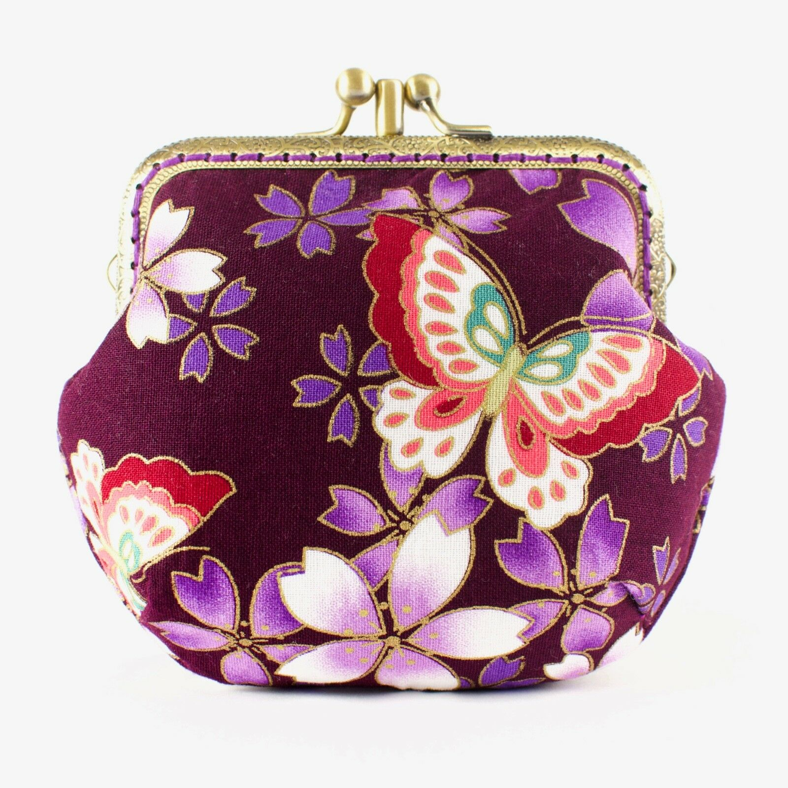 Handcrafted Puffy Twin-Compartment Japanese Sakura Purse collectable #0164