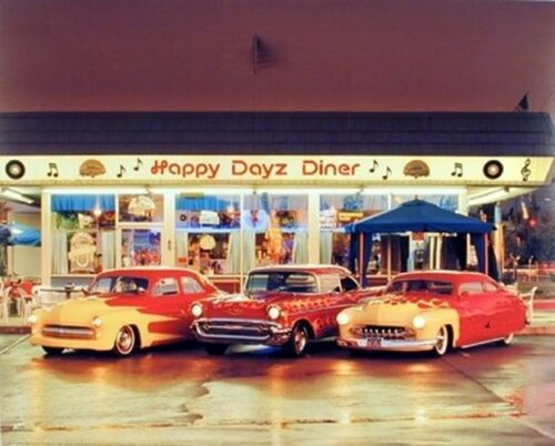 Happy Dayz Diner 57 Chevy Bel Air Mercury Vintage Car wall decor Picture 8x10