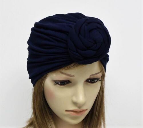 anteriore Annodato Turbante Cappello grande ROSETTA turbante Blu Navy Top Knot turbante
