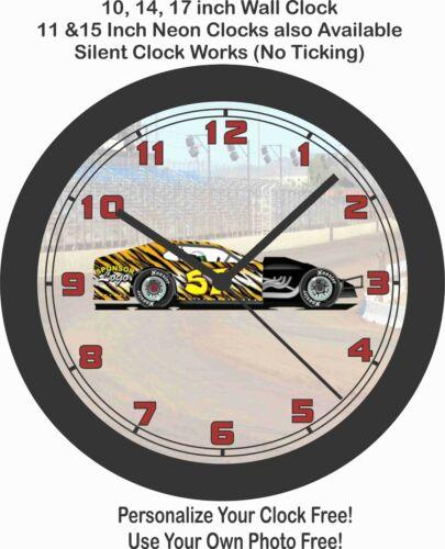 MODIFIED LATE MODEL DIRT TRACK RACE CAR WALL CLOCK-FREE USA SHIP-Choose 1 of 3