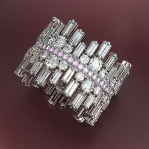 Sunshine-Women-Wedding-Band-Jewelry-925-Silver-Pink-White-Sapphire-Rings-Sz-6-10