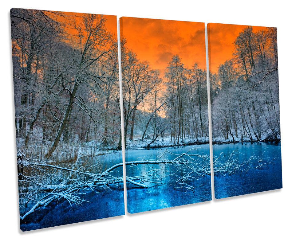 PAESAGGIO invernale al tramonto foto TREBLE TREBLE TREBLE TELA Wall Art Print 3a8c7f