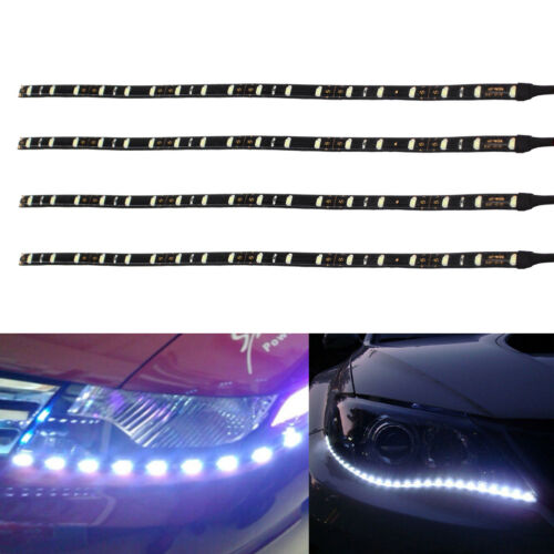 4x 8x 30cm 18LED White Flexible Strip Light IP65 Waterproof 12V Car Home Decor
