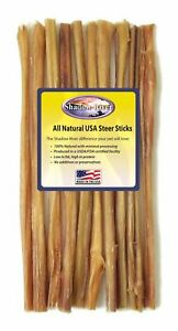 Shadow River 12 Inch THIN Premium USA Beef STEER Bully Sticks Dog Chew Treats