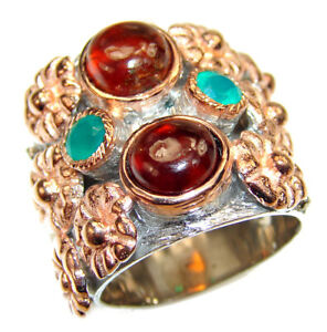 Authentic  Garnet   .925 Sterling Silver handmade Ring size: 5 3/4
