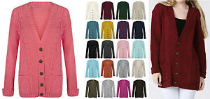 New-Womens-Button-Up-Long-Sleeves-Aran-Chunky-Cable-Knitted-Grandad-Cardigan-Top
