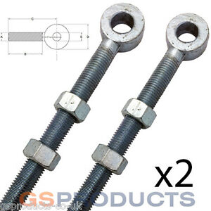 2-of-12mm-x-65mm-Bright-Zinc-Plated-Swing-Gate-Eye-Bolt-with-2-Nuts-Gate-Hinge