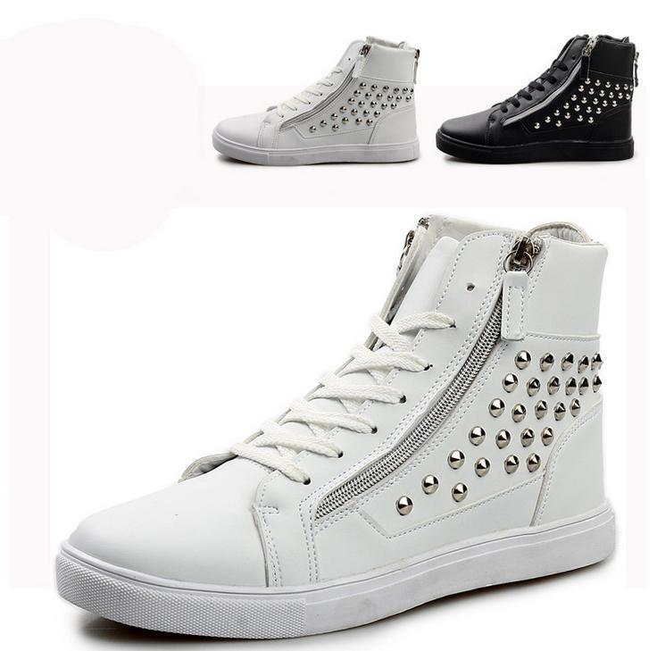Hot Punk Mens Faux LEATHER Rivet Zip High Top Casual shoes Lace Up Ankle Boots 9