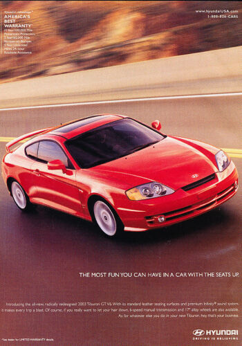 2002 Hyundai Tiburon Coupe red Classic Vintage Advertisement Ad H03