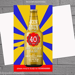 12 x Personalised Mens Birthday Party Invitations Beer BottleH1250