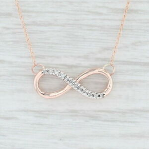 Diamond-Infinity-Symbol-Stationary-Pendant-Necklace-10k-Rose-Gold-18-034-Rope-Chain
