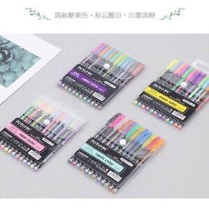 Glitter-Pastel-Highlighter-Metallic-Pens-12-039-s