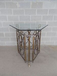 """Maison Jansen Style Rams Head Brass & Steel Entry Center Table 38.5""""h X 35.5""""w Tables"""