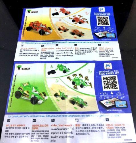 KINDER JOY NEW FORMULA 1 CARS  SE583A SE584A free shipping worldwide