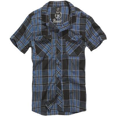 Brandit Roadstar Mens Cotton Flannel Hiking Shirt Short Sleeve Work Top Indigo