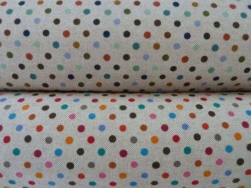 Natural Linen Look Canvas Polka Dot Fabrics Turquoise//Multi Denim Blues Multi