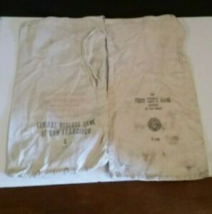 Vintage Bank Money Deposit Bags First National Trust & Federal Reserve Bank