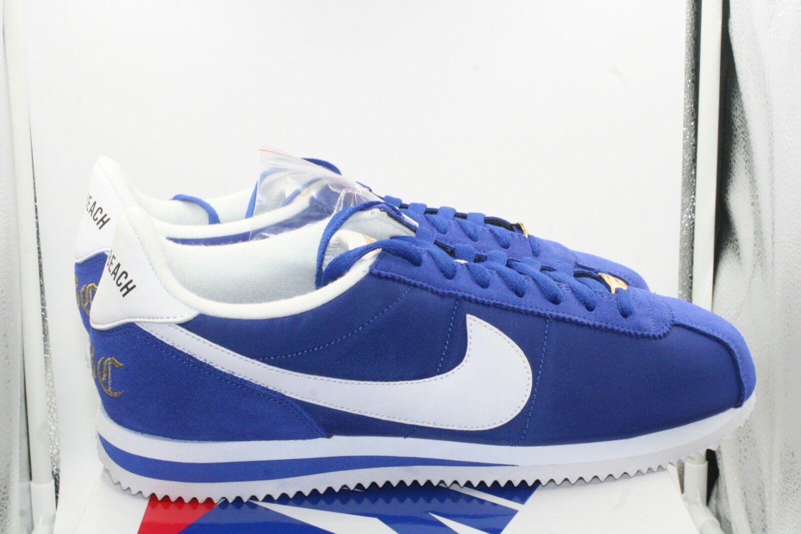 Nike Cortez Basic Nylon Premium LBC Long Beach Sz 10 Old Royal bluee White gold