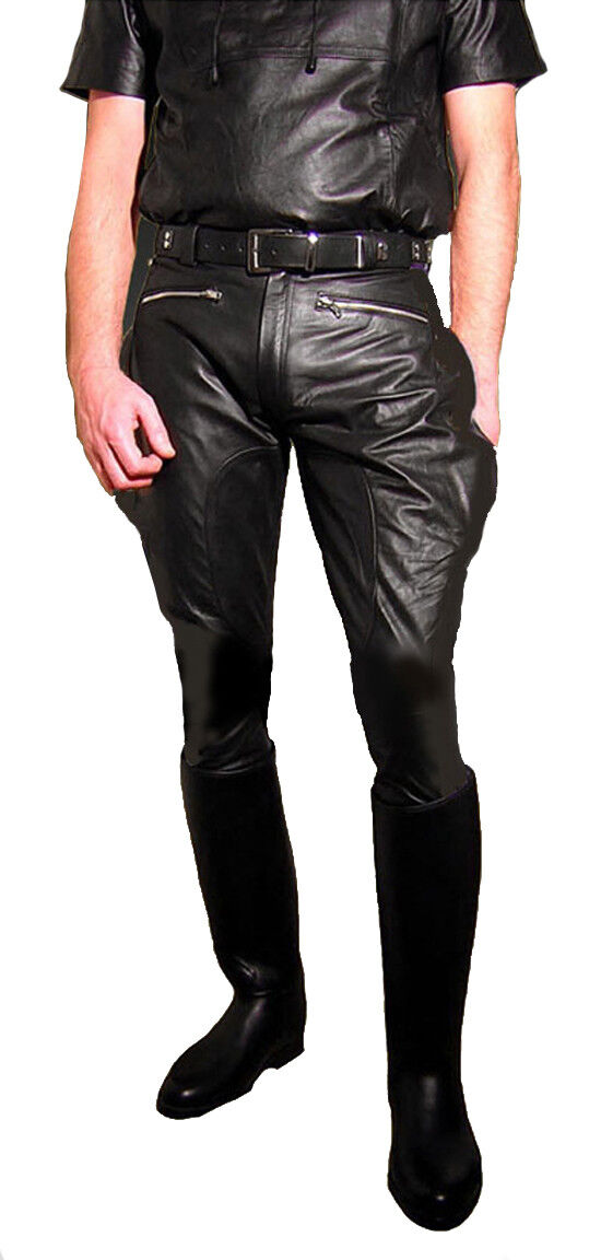Motorcycle trousers pants new men`s leather pants gay leather uniform BREECHES