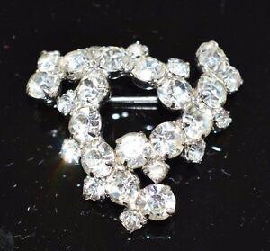 VTG-Silver-Tone-Clear-Rhinestone-Infinity-Triangle-Swirl-Pin-Brooch