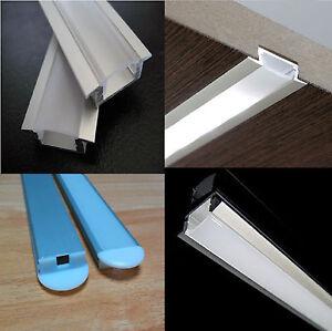 Strisce Led Incasso.Dettagli Su Profilo Alluminio Da Incasso Per Striscia Led Con Cover A Scelta Tappi E Clips
