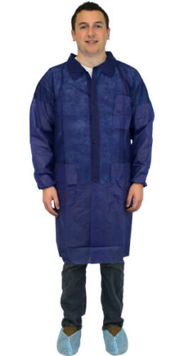 with 3 pockets and elastic wrists The Safety Zone Blue Lab Coats MD 30//case
