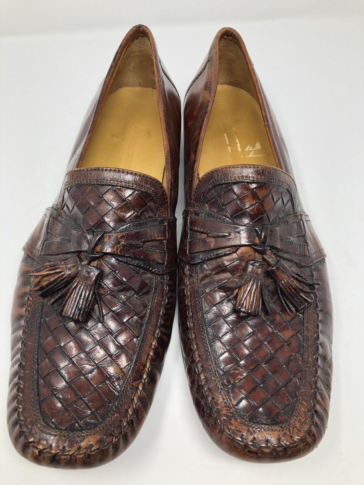 Johnston & Murphy Brown Leather Tassel Loafers Men's US 12