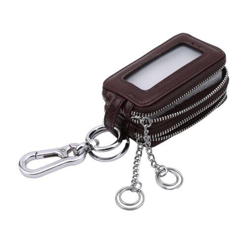 Key Holder Organizer Wallet Case Genuine Leather Car Keychain Bag Double QP