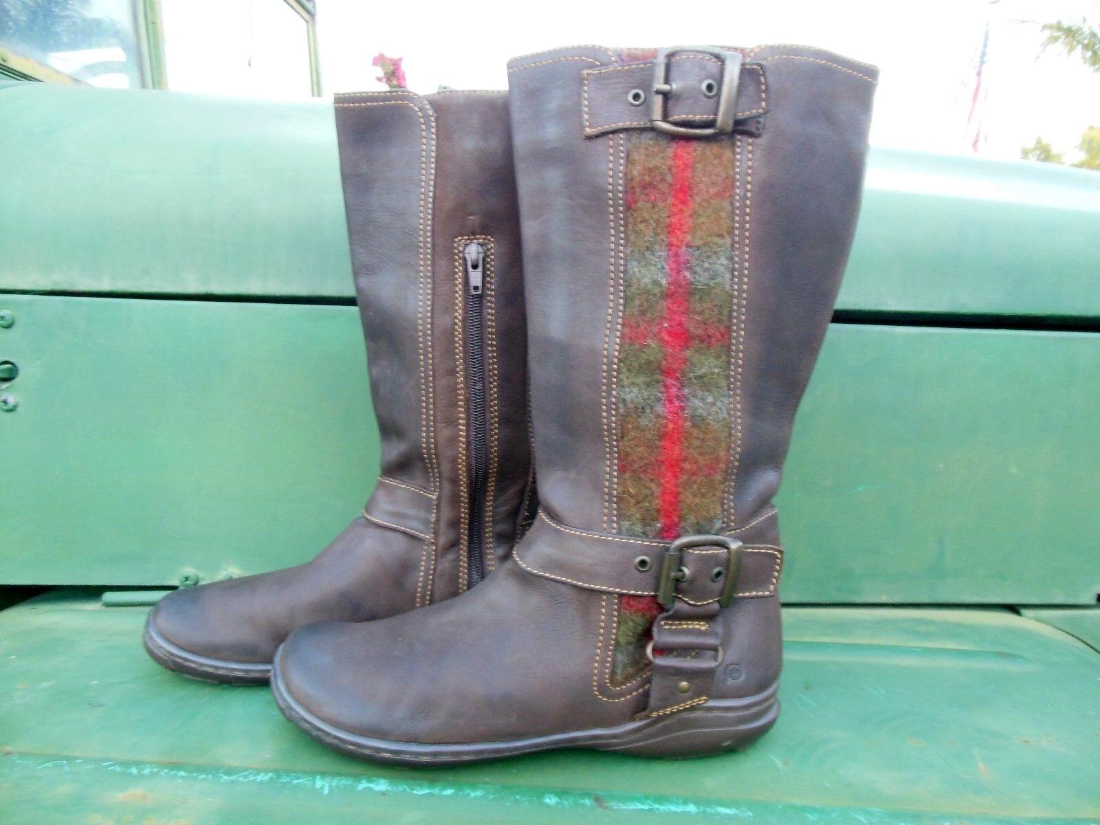 Born Damens 9 Braun Leder Low Calf Stiefel Flats Side Zip Distressed