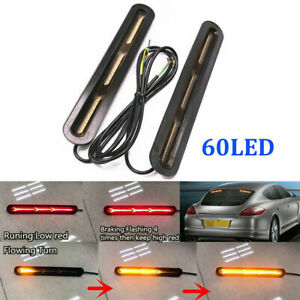 60-LED-Brake-Flowing-Tail-Car-Light-Exterior-Pair-Strip-Flasher-Bar-Turn-Signal