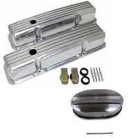58-86 Sbc Chevy 350 Polished Aluminum Valve Covers & 12 Oval Air Cleaner Kit