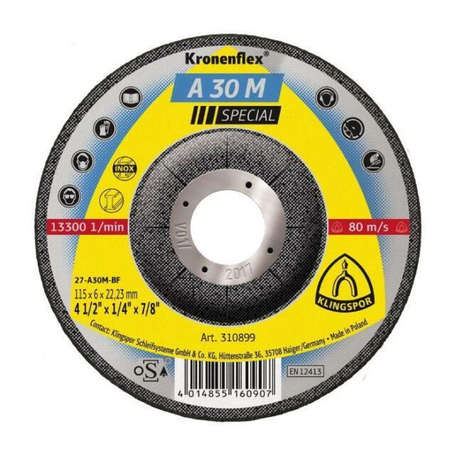 125mm x 6mm x 22,23mm KLINGSPOR Special GRINDING Disc INOX A30M
