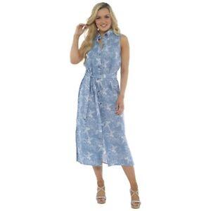 e955688e9411 Womens Linen Button Through Dress Summer Dresses 3/4 Long Size 10 12 ...