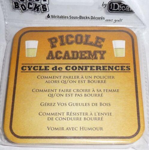 PICOLE ACADEMIE CYCLE DE CONFERENCES  6 Sous-bocks sous-verre carton NEUF