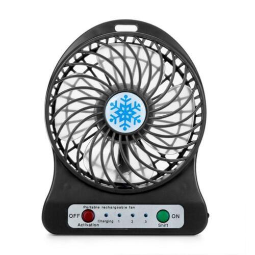 Handheld Chargeable 3 Modes LED Light Fan Air Cooler Desk USB Charging Fans