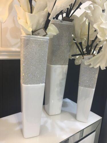 Decorative 40cm White Ceramic /& Clear Crystal Decor Vase Pot Gift Present