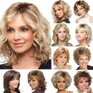 Fashion Women Ombre Short Curly Wavy Hair Full Wigs Bangs Brown Blonde Party Wig Ebay